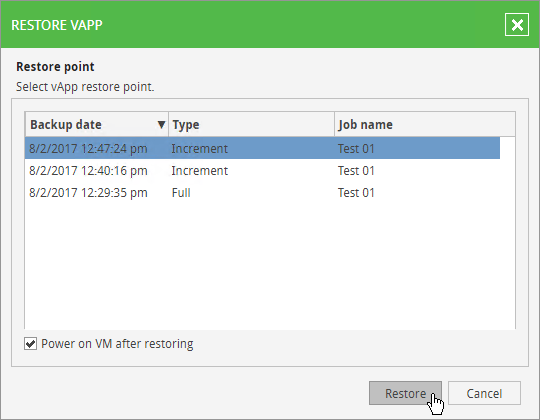Veeam Self-Service Backup Portal - User Restore VM 2