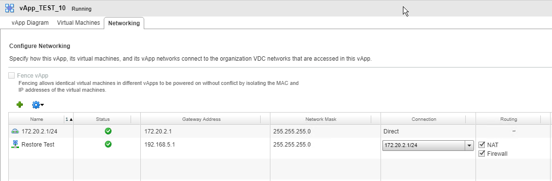 Veeam Self-Service Backup Portal - vCD vApp Networking
