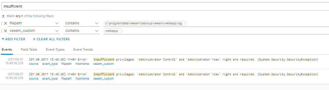 Veeam Self-Service Backup Portal - Log Insight Logs