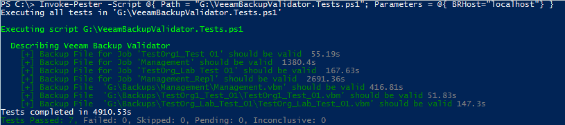Veeam Backup Validator PowerShell Pester Test