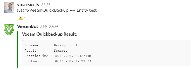 Veeam Plugin for PoshBot - Start-VeeamQuickBackup