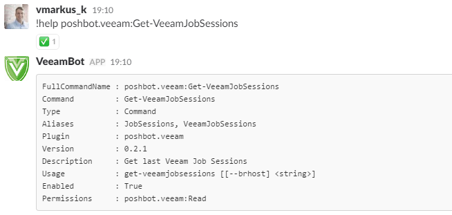 Veeam Plugin for PoshBot - Command Help