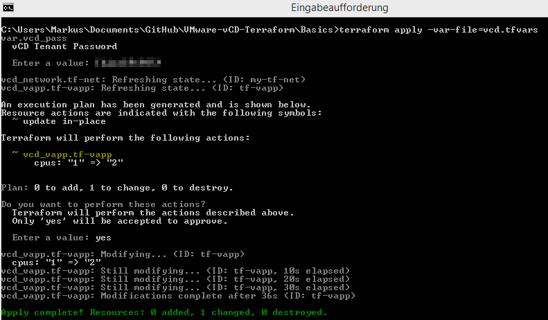 vCloud Director Provider for Terraform - apply update in-place vapp