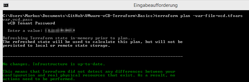 vCloud Director Provider for Terraform - plan