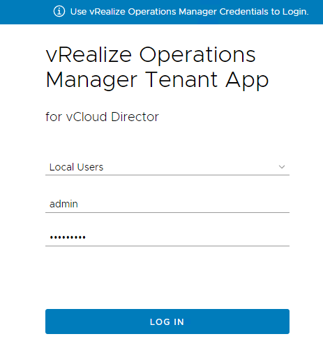 vRealize Operations Tenant App for vCloud Director - Provider Login