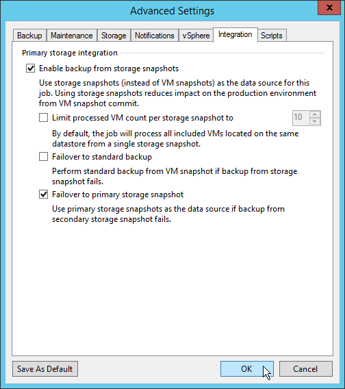 Veeam NetApp Backup from Storage Snapshot - Job Advanced Settings