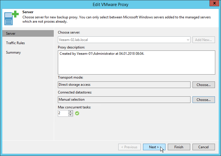 Veeam NetApp Backup from Storage Snapshot - Edit VMware Proxy