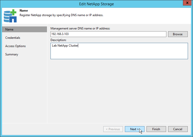 Veeam NetApp Backup from Storage Snapshot - NetApp Storage Name