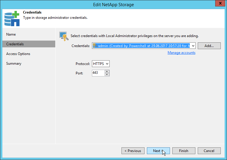 Veeam NetApp Backup from Storage Snapshot - NetApp Storage Credentials