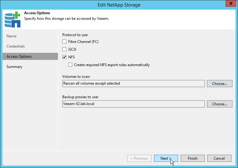 Veeam NetApp Backup from Storage Snapshot - NetApp Access Options