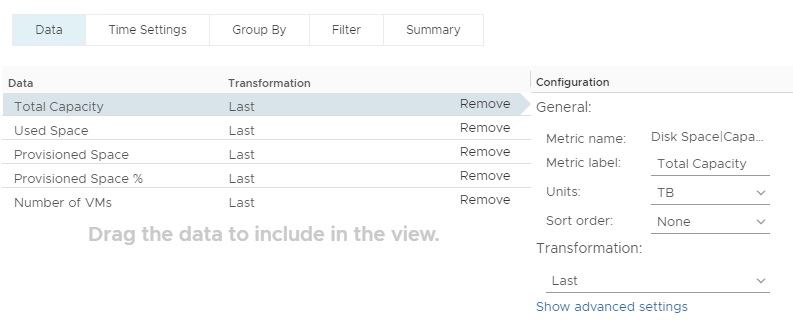 vRealize Operations Manager - Datastore Overprovisioning - Custom View Data