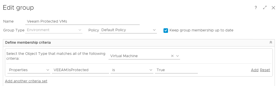 Veeam Integration with vRealize Operations Manager - Group Criteria