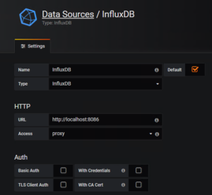 Grafana Dashboard für vCloud Director - Configure InfluxDB Data Source