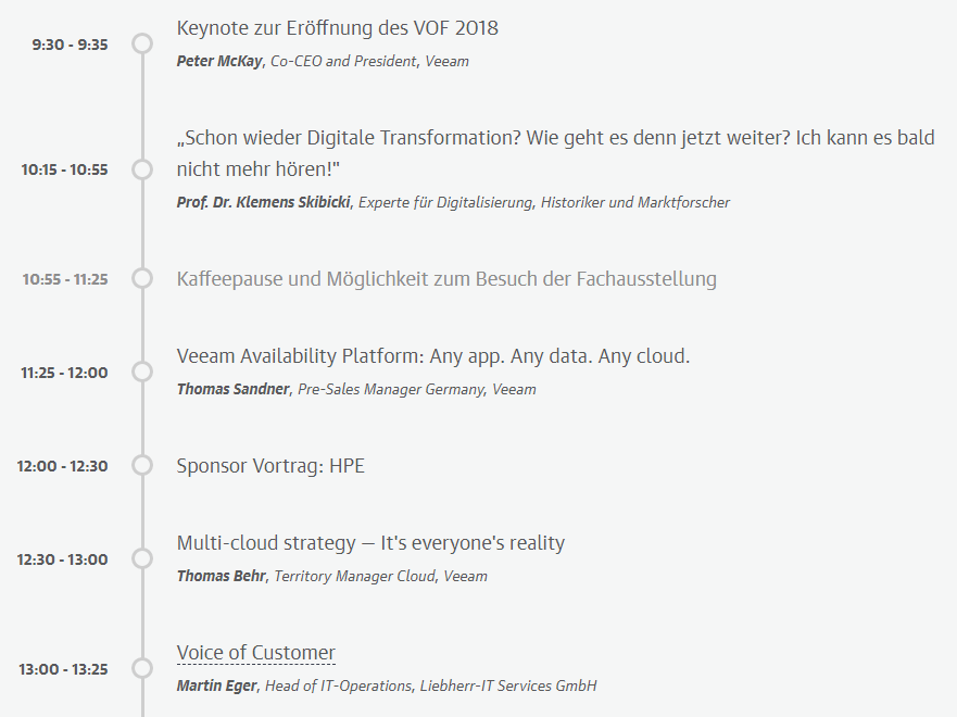 VeeamON Forum Deutschland: The Hyper-Available future starts now - Agenda