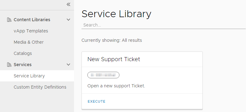 vCloud Director and vRealize Orchestrator Connection - Service Library