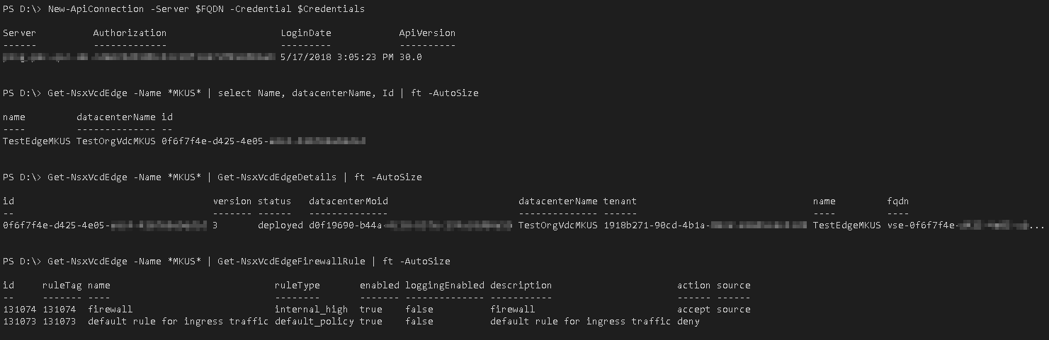 PowerShell Module für vCloud Director NSX API - Beispiel