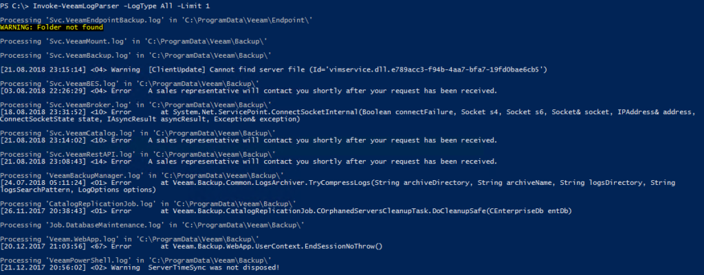 Veeam Log File Analyse mit PowerShell - Invoke-VeeamLogParser -LogType All