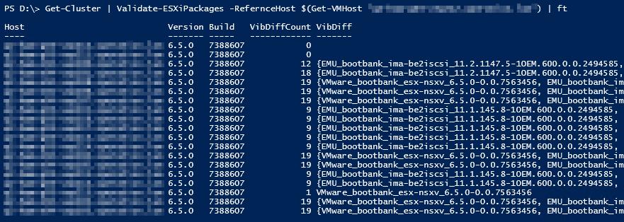Installierte VMware ESXi VIBs vergleichen - Result multiple clusters