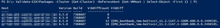 Installierte VMware ESXi VIBs vergleichen - Result