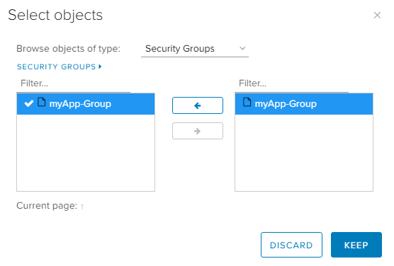 vCloud Director Dynamic Security Group with Tag - UI DFW Object Details