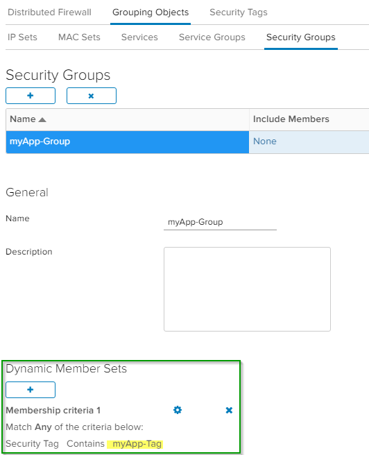 vCloud Director Dynamic Security Group with Tag - UI Security Group