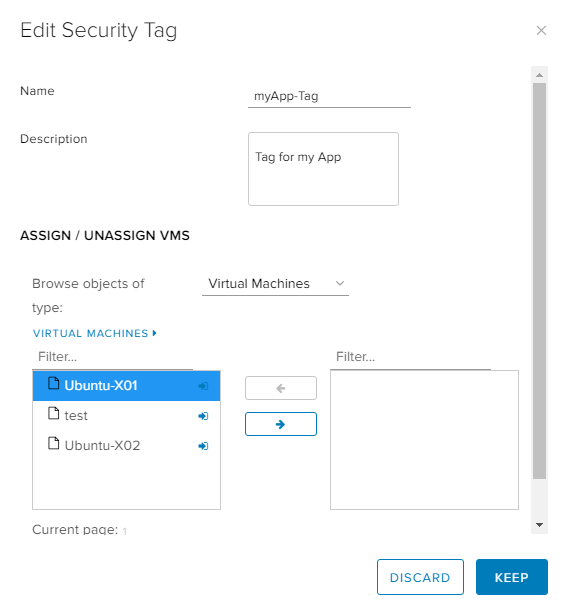 vCloud Director Dynamic Security Group with Tag - UI Security Tag