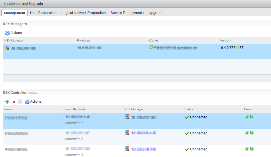 NSX Troubleshooting - Management and Control Plane - Show Controller in UI