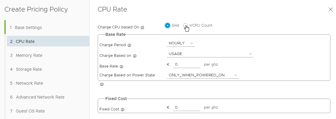 vRealize Operations Tenant App 2.0 for vCloud Director - Pricing Options - CPU Rate