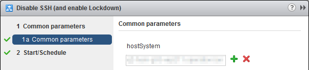 Manage Host Lockdown Mode and SSH Service - vCenter Server Extension Workflow parameters