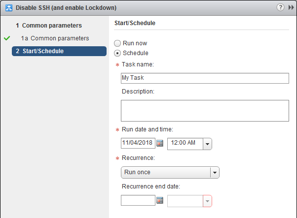 Manage Host Lockdown Mode and SSH Service - vCenter Server Extension Schedule