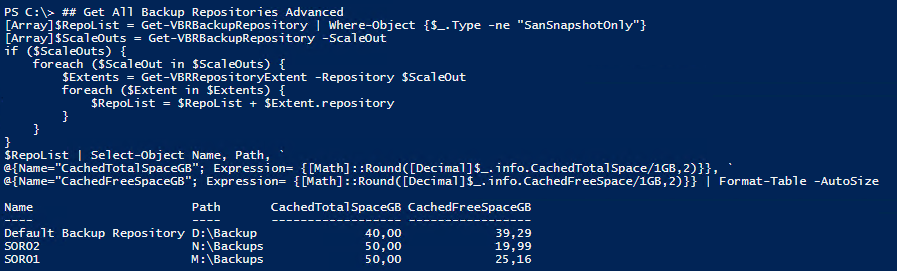 Veeam PowerShell Deep Dive - Get Backup Repositories Advanced