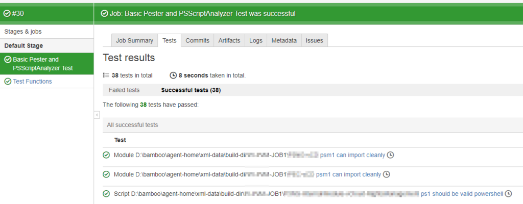 Bamboo PowerShell Pester Integration - Job results