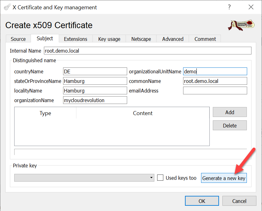 CA signed vCenter Certificate from XCA - Root-CA Subject