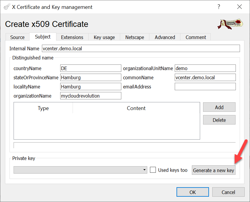 CA signed vCenter Certificate from XCA - Server Certificate Subject and Key