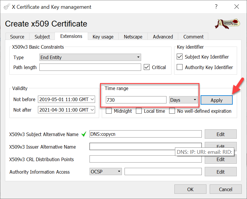 CA signed vCenter Certificate from XCA - Server Certificate Extension and Validity