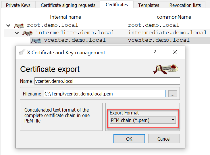 CA signed vCenter Certificate from XCA - Server Certificate Export