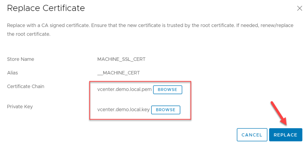 CA signed vCenter Certificate from XCA - vCenter Machine SSL Certificate replacement wizard