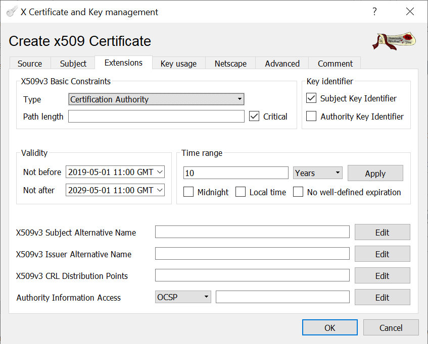 CA signed vCenter Certificate from XCA - Root-CA Extensions