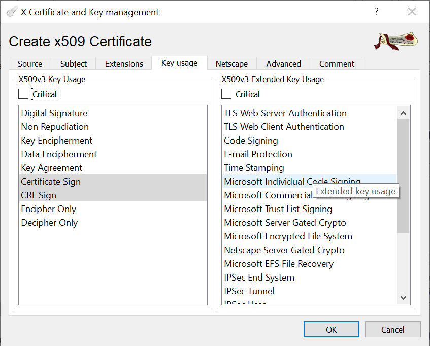 CA signed vCenter Certificate from XCA - Root-CA Key Usage