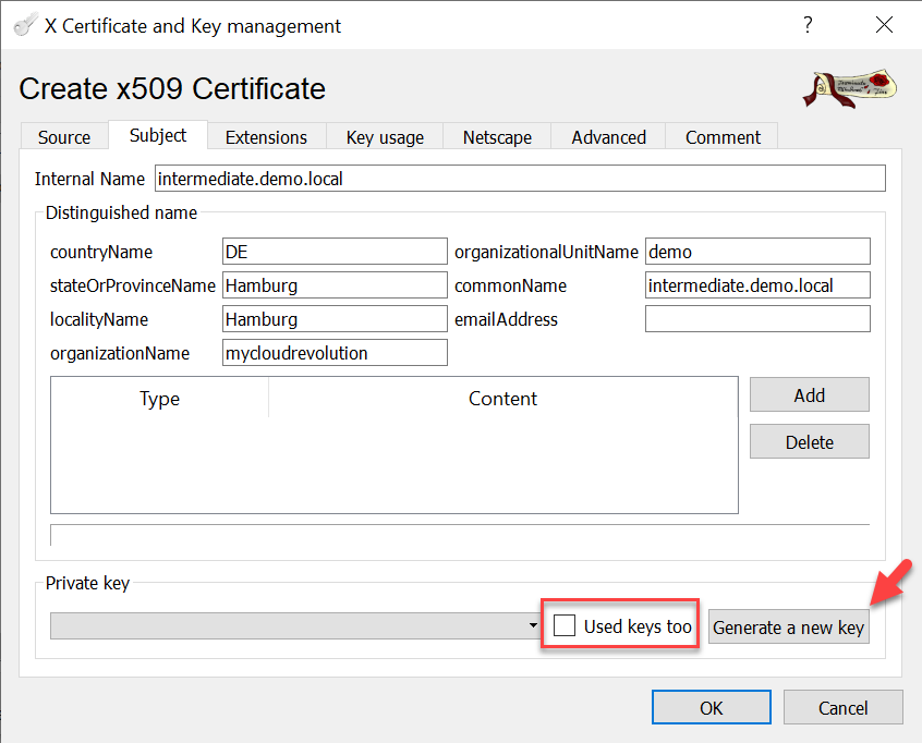 CA signed vCenter Certificate from XCA - Intermediate-CA Subject and Key