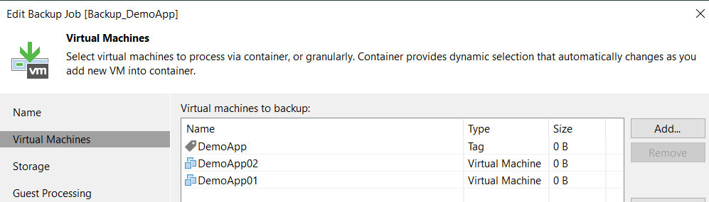 Veeam and vSphere Tag Integration with Ansible - Veeam Backup Job