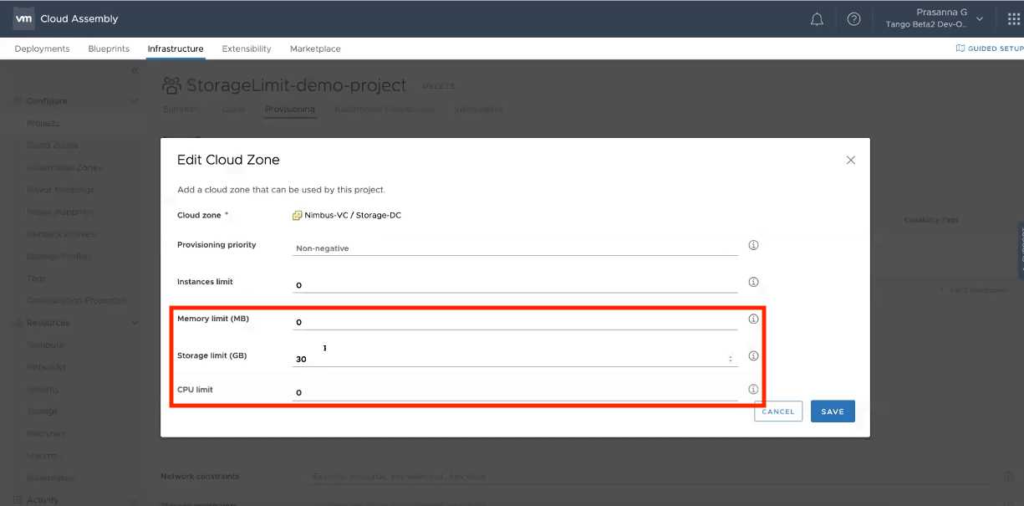 vRealize Automation 8.1 Highlights - Ressource Limits