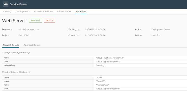 vRealize Automation 8.1 Highlights - Approval Policies