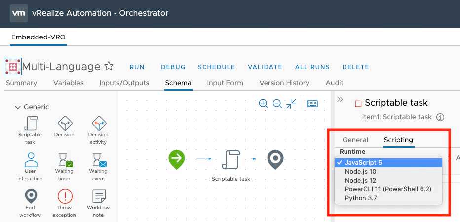 vRealize Orchestrator 8.1 Highlights - Support for Multiple Scripting Languages