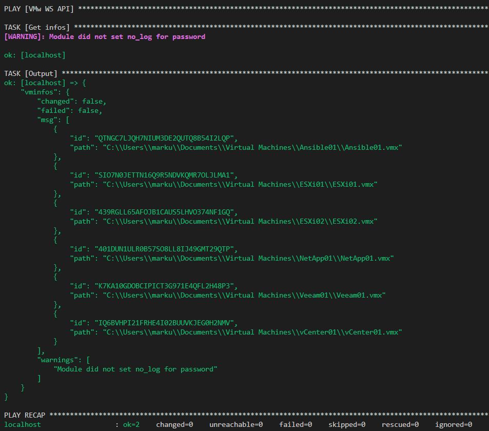 VMware Workstation API - Ansible Playbook