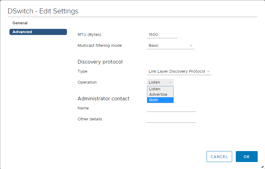 Enable Link Layer Discovery Protocol on a vSphere Distributed Switch