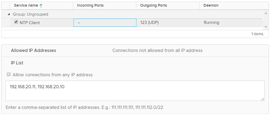 ESXi NTP Security Configuration - Firewall Rule
