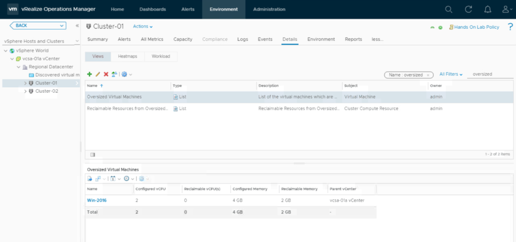 vRealize Operations Rightsizing Recommendations - View
