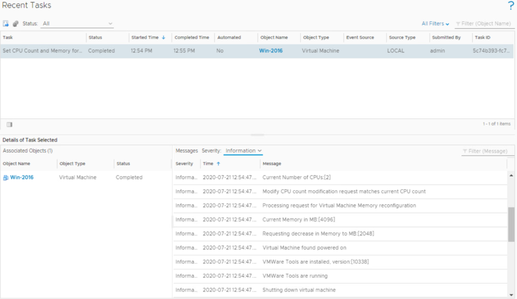 vRealize Operations - Action Task